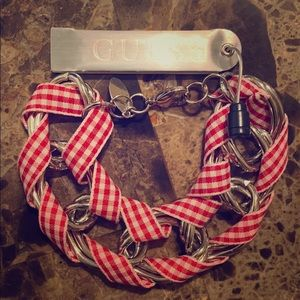 Guess Red, White, and Silver Bracelet